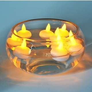 12Pcs LED Floating Tea Waterproof Wedding Party Floral Decoration flameless Candle (Yellow Light)