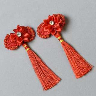 Ethnic Red Ribbon Chinese New Year Festival Hair Clips with Tassels