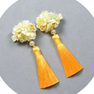 Daffodil Yellow CNY Festival Hair Clips with Tassels