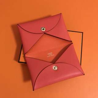 Hermes Calvi Card Holder two tone sikkim