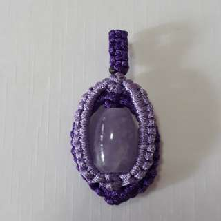 🎆Special Offer🎆🏵Lavender Amethyst pendant(熏衣草紫水晶吊坠) set in Macrame. Bead size 14mmx9mm