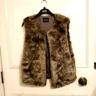 Fluffy faux fur sleeveless top