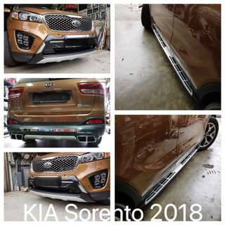 KIA Sorento 2017-2018 installed with Front & Rear Bumper Protection Kit and Aluminum (Cayenne) Side Step