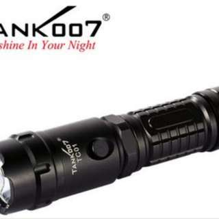 Tank007 TC01 5-modes T6 LED Cree Police Rechargeable Torch for Emergency/ Safety/ Security + 18650 Battery + Car/wall Charger