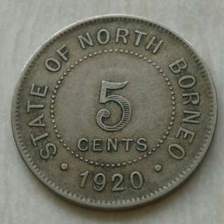 British North Borneo 1920H Key Date 5 Cents Coin With Good Details