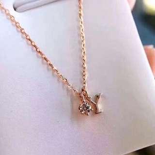英文名字母18k金鑽石頸鏈鎖骨鏈🎁情人節閨蜜女朋友紀念日禮物訂造全新日本風格