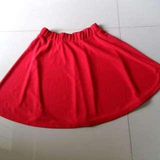 Preloved Red Flare Skirt