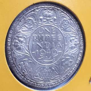 1940 India Silver Rupee