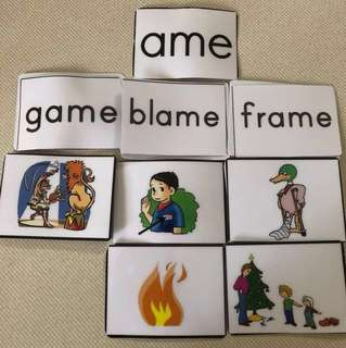 Laminated words Cards