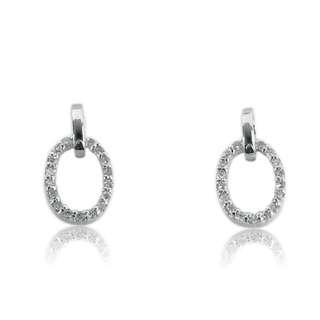 18K 白金 鑽石 耳環