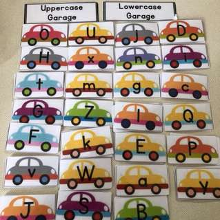 Uppercase and lowercase Garage Laminated cards