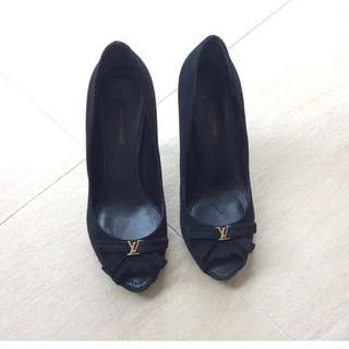 LV open toe and slender stiletto heel baby goat leather