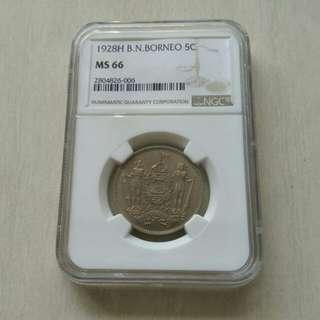 British North Borneo 1928H NGC MS66 5 Cents Coin