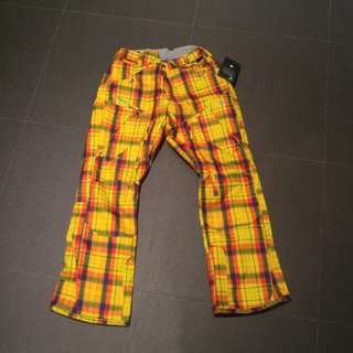 Mens L Snowboard Pants yellow 686 MANNUAL 10,000 water 8,000 breathe