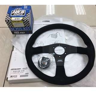 Genuine Mugen Suede Steering Complete with HKB Bosst Kit