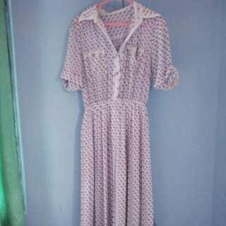 Dress Vintage Bahan Sifon