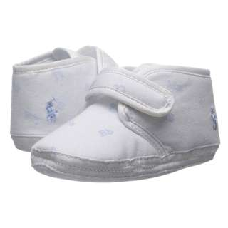RALPH LAUREN Baby White Blue Baby Shoes Crib Shoes Newborn Shoes Size 1
