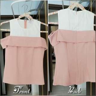Love bonito pastel pink cold shoulder top