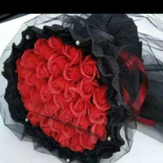 33 Red Soap Roses Bouquet With Black Colour Cover