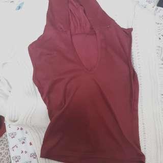Maroon hooded vest