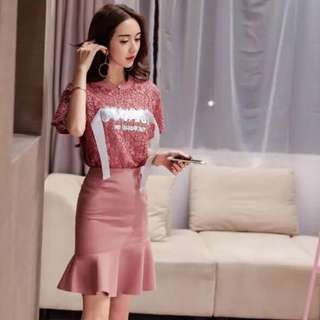 Laced Blouse with Skirt