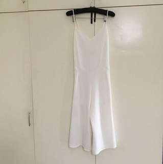 White (below the knee) jumpsuit
