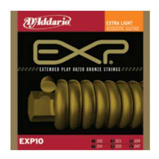 D'Addario: Extended Play 80/20 Bronze Extra Light Acoustic Guitar Strings- EXP10