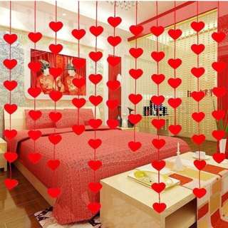 Hanging Red Heart String 2 Bag 32pcs Valentines Day Decorations Engagement Wedding Party