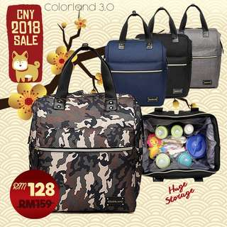 ORIGINAL Colorland High Capacity Trendy Daddy Bag Mommy Diaper Bag Backpack