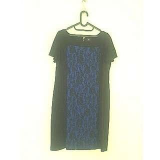 Navy blue black dress / dress biru renda
