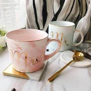 【情人節首選】歐陸雲石纹陶瓷杯金邊杯 辦公水杯 男女情侣咖啡杯禮物