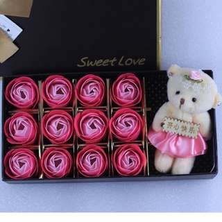 Valentines Day Special Gift Ideas Teddy Bear Doll Rose Soap Flower in pink, red, blue and purple