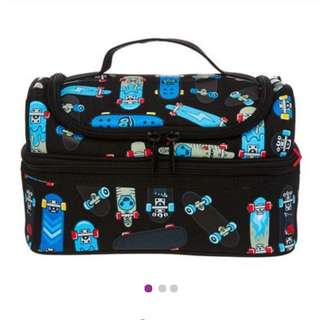 Smiggle snaps double decker lunchbox (black)