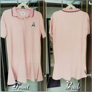Preloved light pink polo tee dress