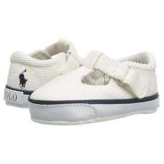 RALPH LAUREN Baby Mary Jane White Baby Shoes Newborn Shoes Crib Shoes Size 1