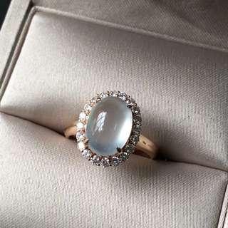 18K鑽石天然A貨高冰翡翠戒指