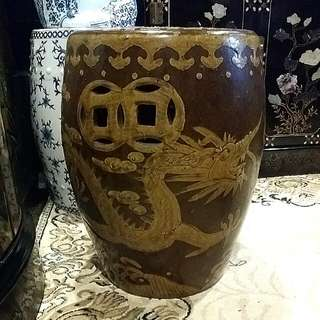 Dragons Chinese Antique Stool