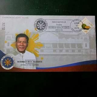Commemorative Cover Stamp,Pres. Duterte 16th President of the Republic