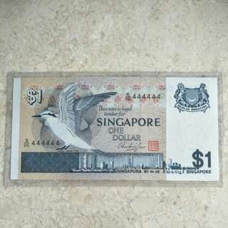 SINGAPORE $1 BIRD GOLDEN SOLID S/N B/86 444444 UNC
