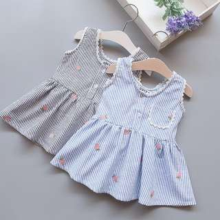 CNY Dress, Chinese new year Kids Dress OTS14 Korean Sweet Striped Dress