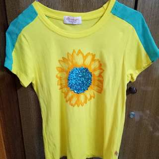 Orange Sorbet Brand Sunflower Sequins T-shirt