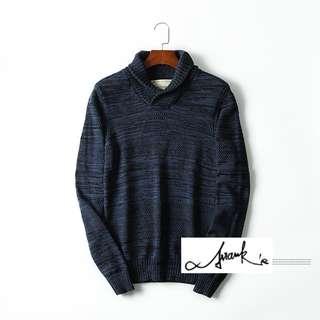 🚚 FRANK'S日本特進-素色編織 圍領 純棉 花式 針織 毛衣 不過敏 復古 套頭毛衣 合身 彈性 男女 針織毛衣
