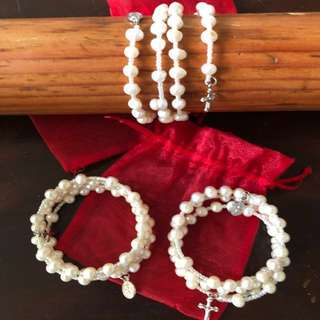 ROSARY Bracelet Fresh Water Pearl w/ Pouch