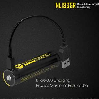 Nitecore 3500mA 18650 Rechargeable battery with built in charger