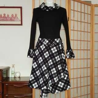 全新 時尚拼接經典格紋氣質洋裝#換季五折
