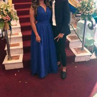 for rent royal blue backless gown