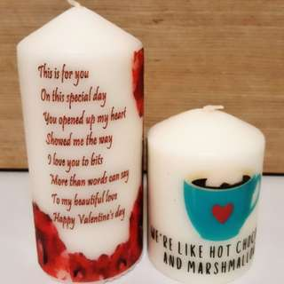 Valentine's day customised candles
