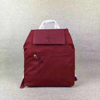 Tory Burch Maroon Foldable Rucksack Nylon Backpack