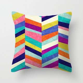 Upright Colourful Herringbone Cushion Throw Pillow Cover