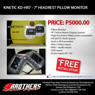 "KINETIC KD-HR7 7"" HEADREST PILLOW MONITOR"